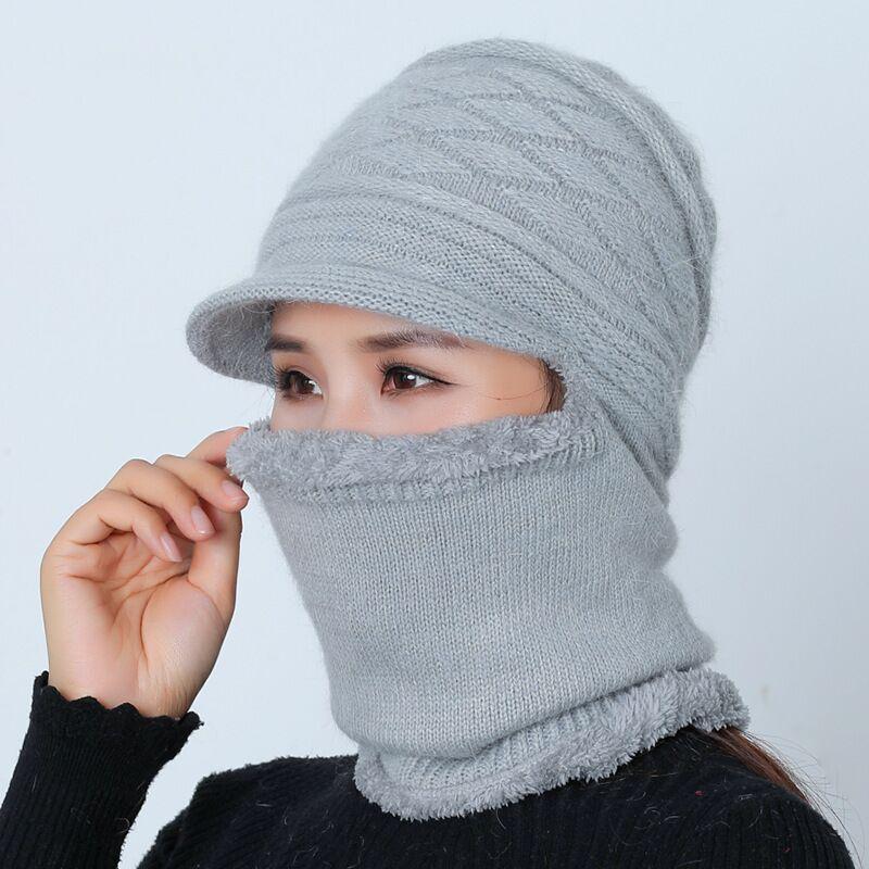 Female Warm Beanie Hat Riding Snow Caps Winter Women Hat Knitted Mom Set Gorras Fashion Wool Hat Thickening Collars