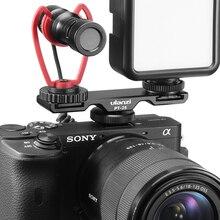 Ulanzi PT 2S DSLR kamera uzatın çift soğuk ayakkabı dağı braketi Smartphone Vlog montaj plakası mikrofon LED ışık tutucu