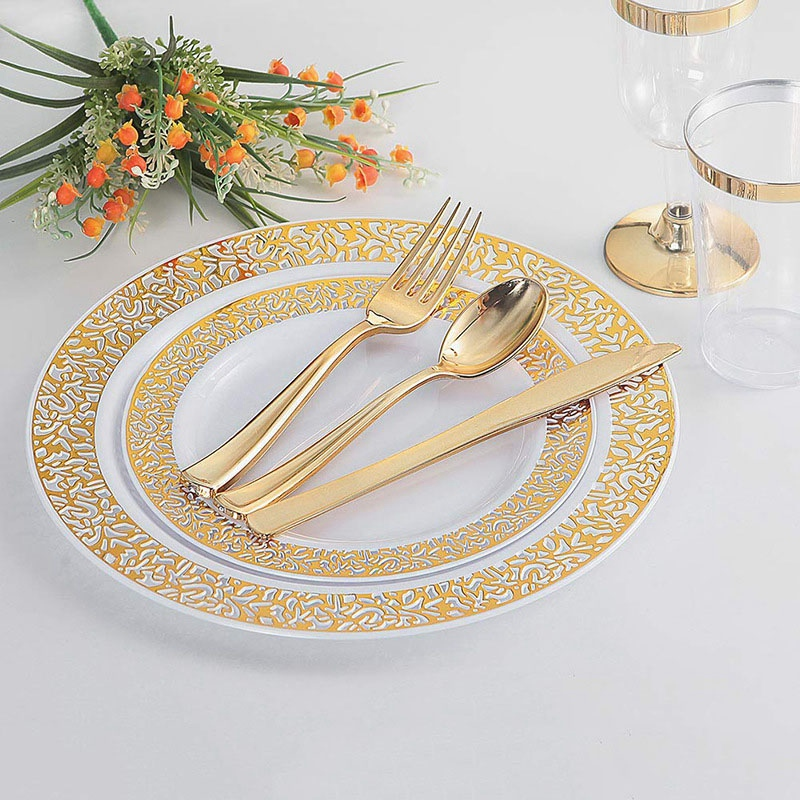 150Pcs Gold Plastic Plates with Disposable Plastic Silverware,Lace Design Wedding Party Plastic Tableware Sets for All Holidays
