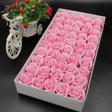 50PC/Box Pink Soap Flower Artificial Marriage Rose Lover Gift Diy Wreath Wedding Flowers Box Decoration Fake