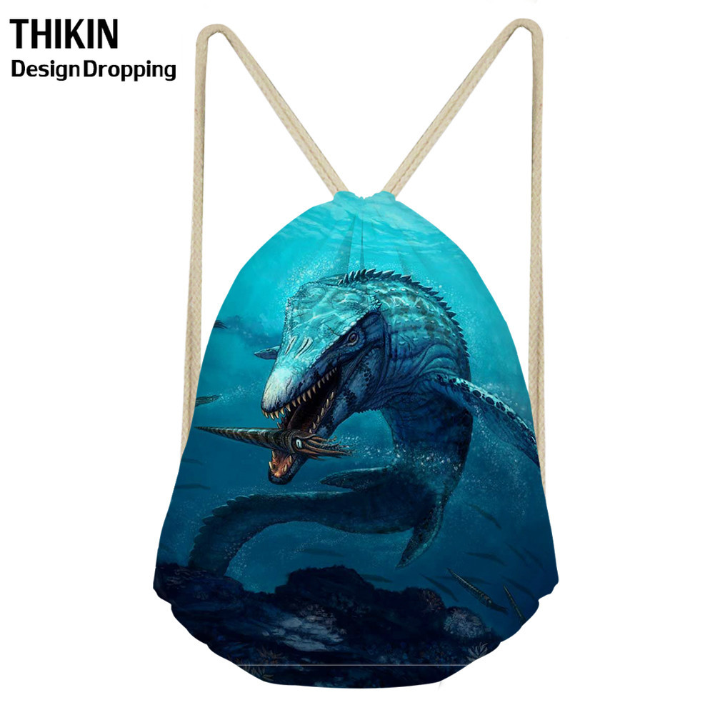 ThiKin 3D Mosasaurus Dinosaur Printing Drawstring Bag Women Men Shoulder Bags Undersea Animals Pattern Travel Storage Bagpack