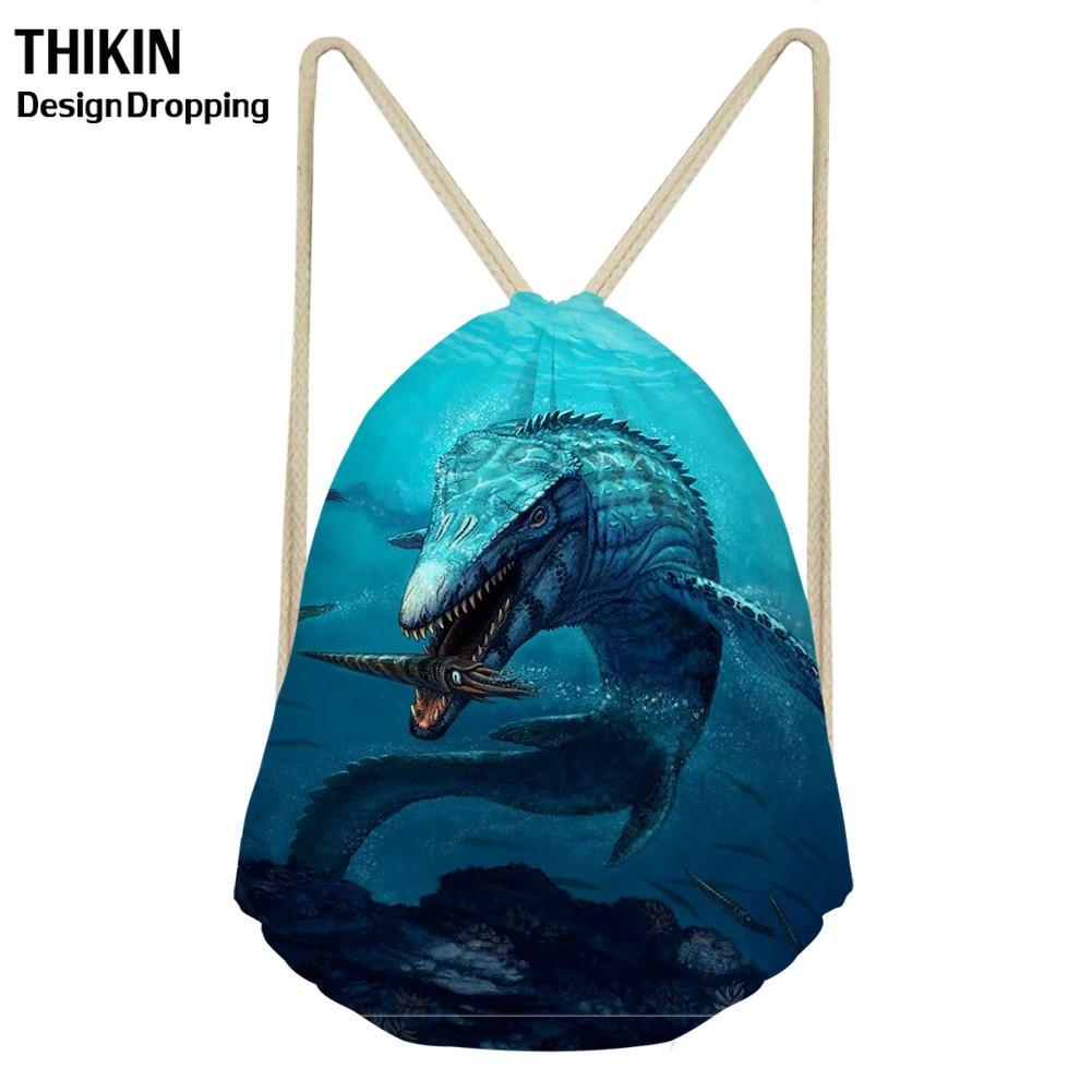 ThiKin 3D Mosasaurus Dinosaur Printing Drawstring Bag Women Men Shoulder Bags Undersea Animals Pattern Travel Storage Bagpack
