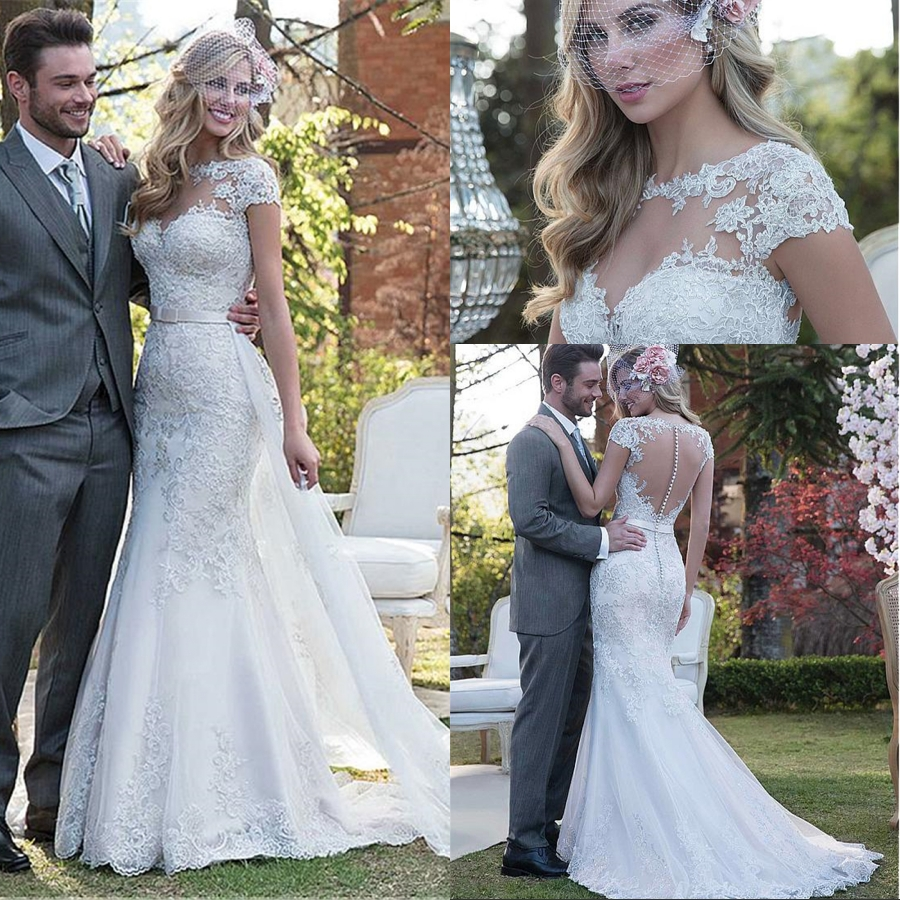 Elegant Tulle 2 In 1 Mermaid Wedding Dress With Lace Appliques Beadings Detachable Skirt For Bride Wedding Gowns