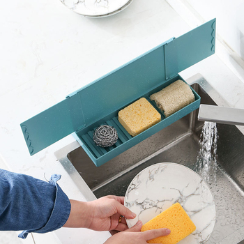 Deflector retráctil para fregadero con compartimento de almacenamiento, deflector a prueba de salpicaduras para fregadero de cocina, barrera de agua para el hogar, solapa para fregadero
