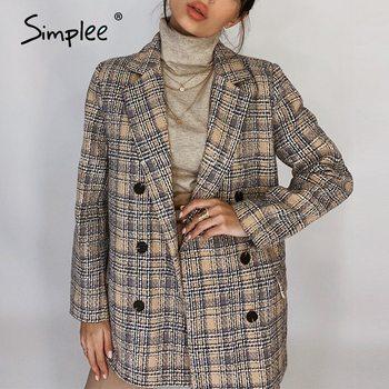 Simplee Elegant autumn winter plaid women blazer coat Causal long sleeve tweed coat short Office ladies pocket women suit blazer 1