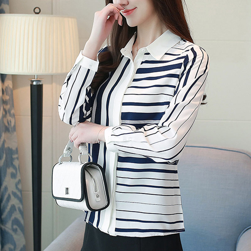 long-sleeved chiffon blouse striped 2