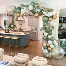 142 pcs Vintage Green White Gold Balloon Garland Kit as Backdrop for Birthday Baby Bridal Shower Party Decorations
