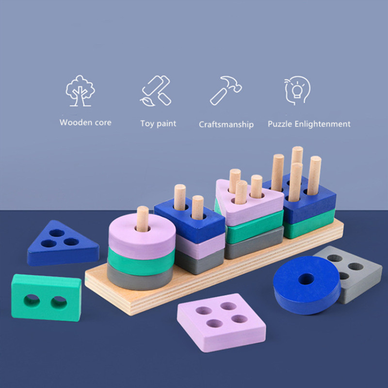 Mini montessori brinquedo de madeira blocos de construção aprendizagem precoce brinquedos educativos cor forma jogo cognição crianças brinquedo para meninos meninas