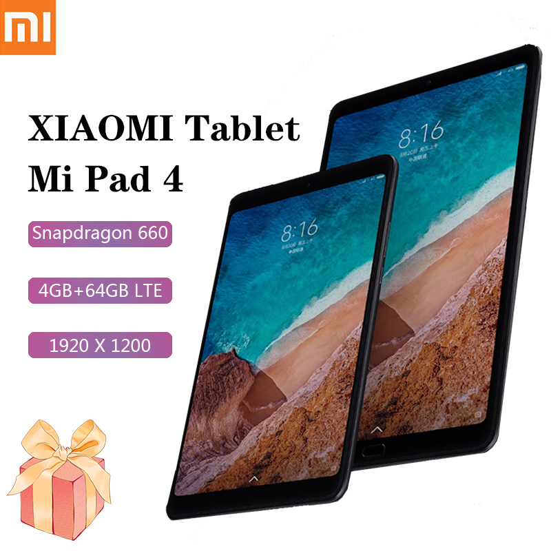 Xiaomi mi almofada 4 tablet android lte versão 8 Polegada tablet 1920x1200 snapdragon 660 4gb ram 64gb rom 6000mah batary xiaomi tablet
