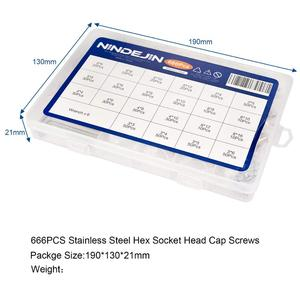 Image 5 - 666pcs Hex hexagon socket set screw flat point stainless steel grub screw assortment kit M2 M3 M4 M5 M6 M8 headless set screw