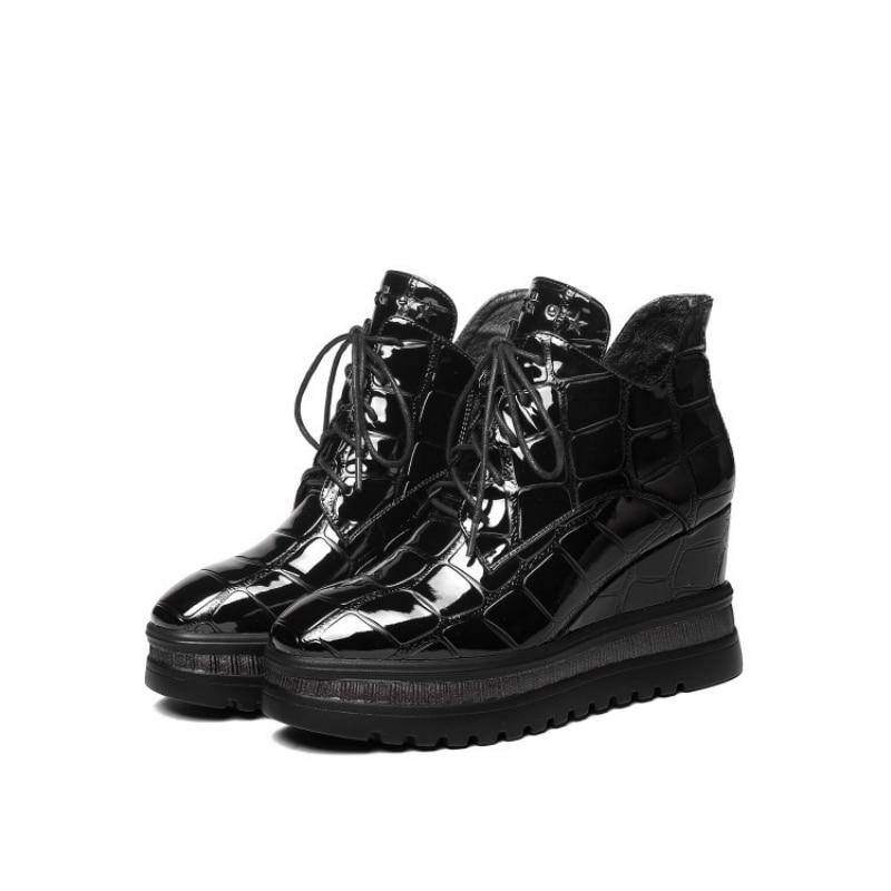 Brand Wedges Ankle Shoes Woman Autumn Winter Lace Up High Heels Footwear Designer Black Zipper Platform Shoes Pumps Plus Size 42