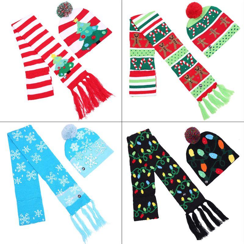 Adult Children LED Colorful Luminous Color Christmas Hat Scarf Set