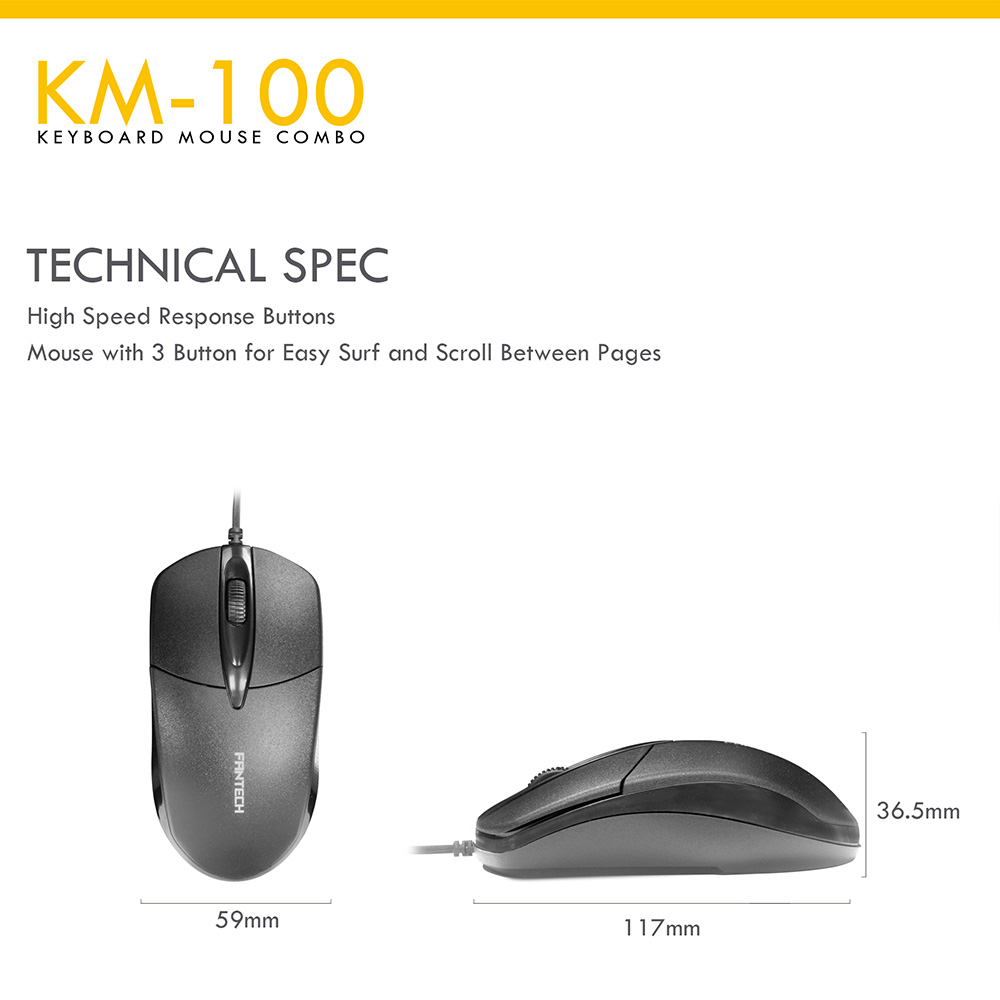 Fantech KM100 USB Keyboard Mouse Combo Black 8