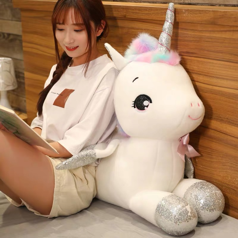 30~80cm Giant Unicorn Plush Toys Stuffed Animal Horse Pillow For Girl Sequin Horn Soft Doll Home Bed Decor Lover Birthday Gift