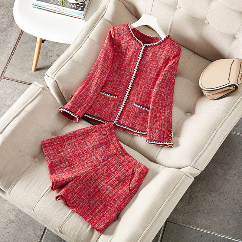 Tweed Short Suits Women 2020 New Arrival Autumn Winter 2 Two Piece Set Wool Woolen Luxury Blazer Jacket Coat Tops Shorts Outfits