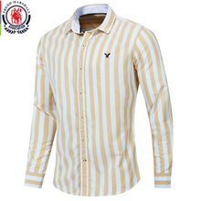 Fredd Marshall 2019 Autumn New Men Striped Shirt Casual Soical Long Sleeve 100% Cotton Shirts camisa masculina Homme Tops 221