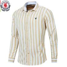 Fredd Marshall 2019 Herfst Nieuwe Mannen Gestreept Overhemd Casual Soical Lange Mouwen 100% Katoenen Shirts Camisa Masculina Homme Tops 221