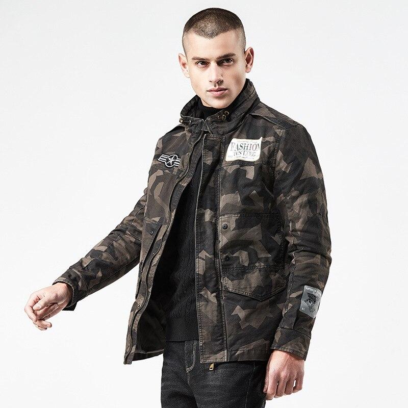Camouflage vestes hommes militaires manteaux mâle décontracté coton 2019 mode printemps automne hommes décontracté vert Camo manteau DG215