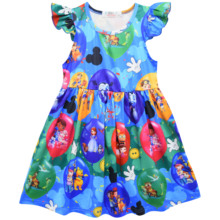 Hot Selling Girl Mickey Dress Flying Sleeve Cartoon Print Ruffle Dress Baby Girl Chothes