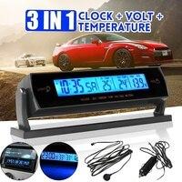 3 in 1 자동차 블루 lcd 디지털 시계 + 전압 + 온도 온도계 알람 모니터 배터리
