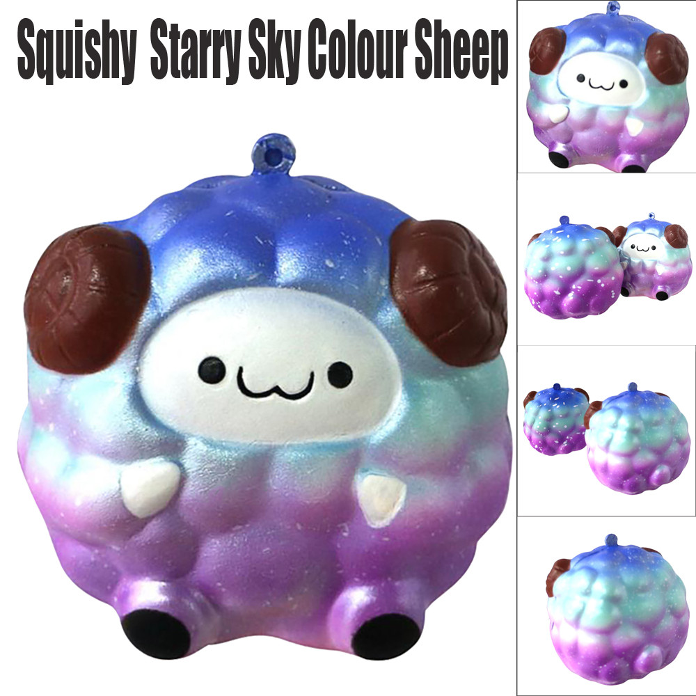 Starry Sky Colour Squee Soft Antistress Squeeze Toy Cute Sheep Cartoon Straps Anti-stress Slow Rising Toys L1218