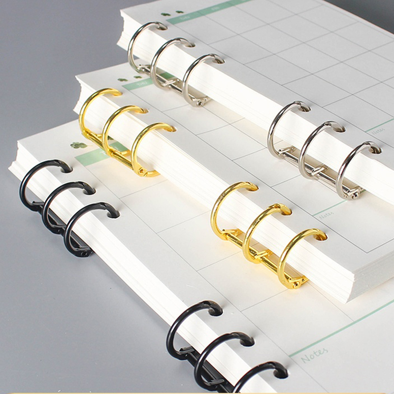 2Pcs 3 Holes Metal Binders Rings Gold File Folder Spiral Binding Clips Scrapbook Album Notebook Binder Calendar Office Supplies