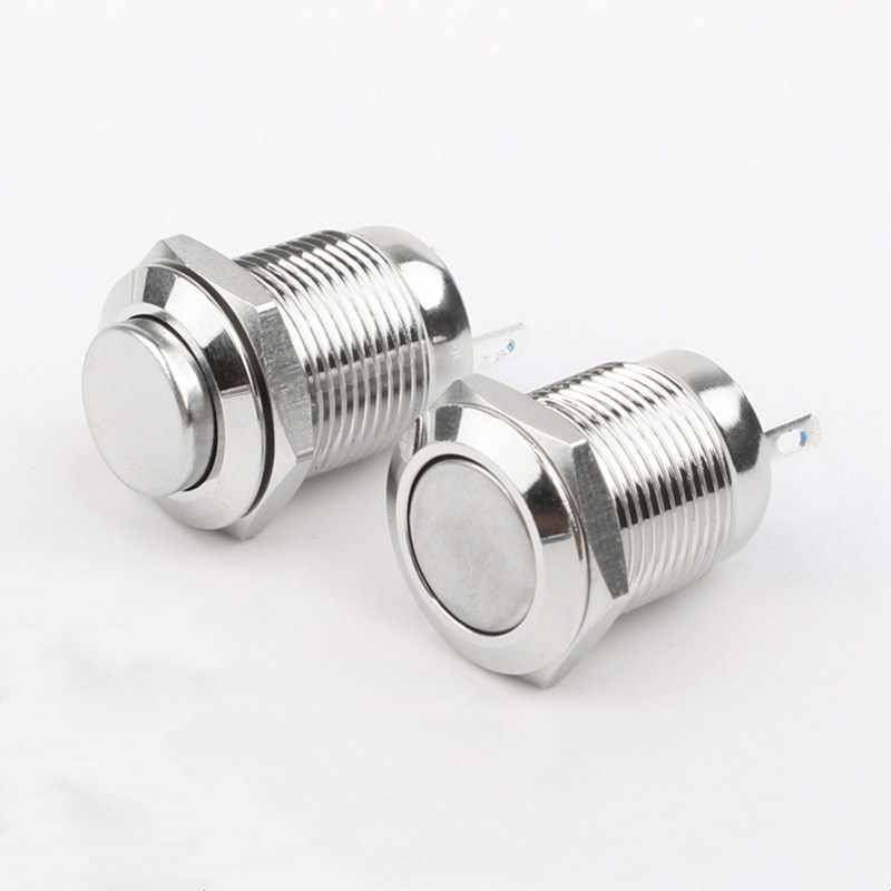 1Pcs 12Mm Metalen Drukknop Latching/Momentary Waterdicht En Brandvertragend Hoge/Platte Ronde 2 pins Vernikkeld Messing