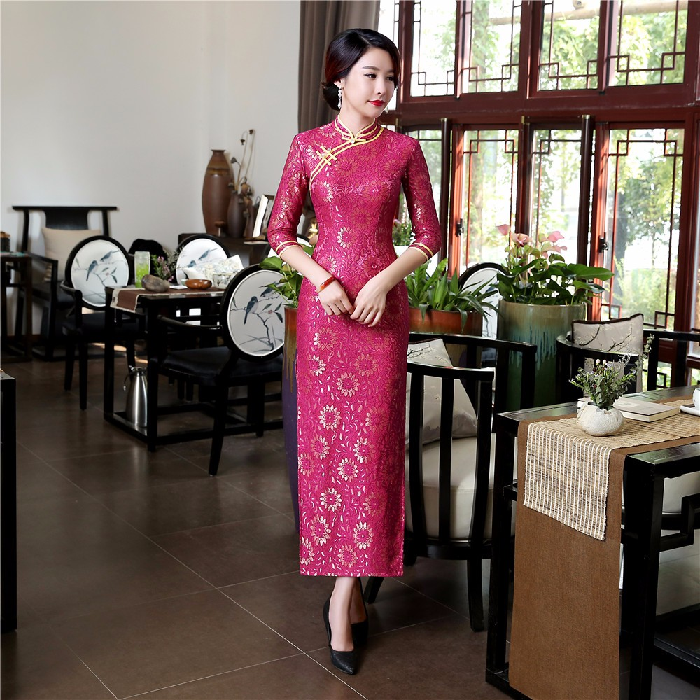 Rose Red Cheongsam Chinese Style Long-sleeved Dress Retro Lace Elegant Traditional Long Cheongsam Sexy Size S-3XL 2020