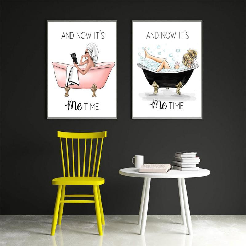 Домашний декор скандинавский постер для ванной настенный художественный