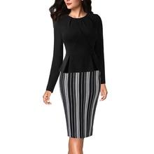 Vfemage Womens Autumn Elegant Pleated Neck Ruffle Peplum Zipper Wear to Work Office Business Vestidos Bodycon Sheath Dress 1515