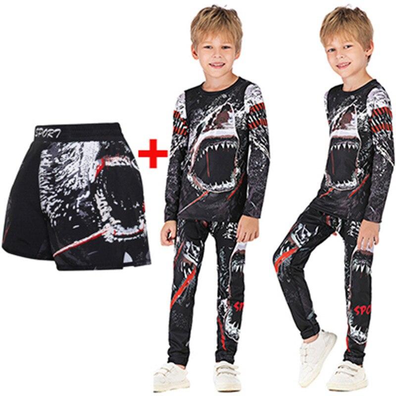 Children's Rashguard MMA 3D Compression Kids Boxing BJJ Jersey+Pants Jujitsu Mma Ropa Spodenki Boy Gym T Shirt+Pants Sportsuits