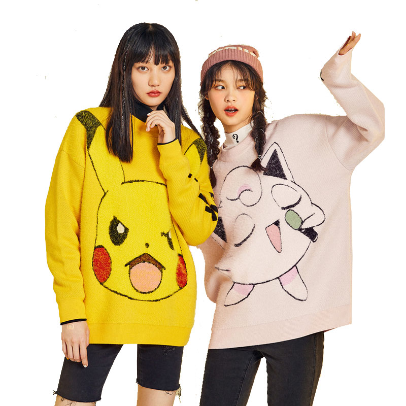 POKEMON Winter Sweater Cute Girls Long Sleeve Jumper Pikachu Charmander Sweater Pullover Knitted Sweater Female Pull Femme