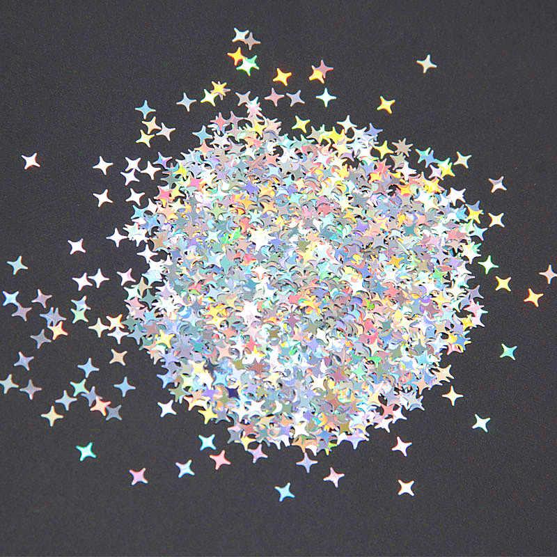 Ultrathinเล็บGlitterเลื่อม 4 มม.เลเซอร์Star Sequinsเล็บGlitter Paillettes 3Dเล็บวัสดุตกแต่ง