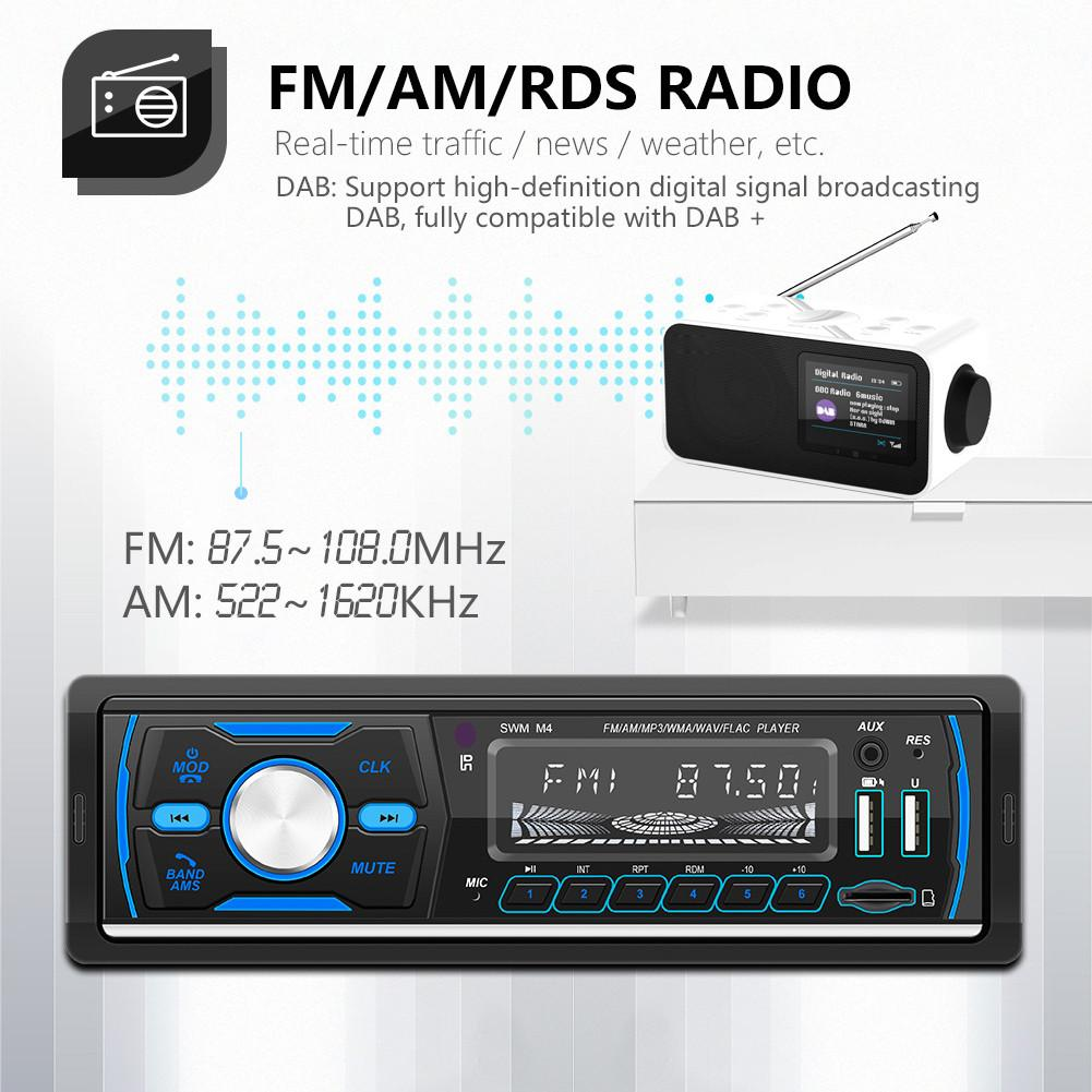 Car MP3 Player Bluetooth Car Stereo Radio Receiver Remote Control 1 Din Digital Media Receiver Support FM/AM/RDS/DAB/DAB +/MP3 image