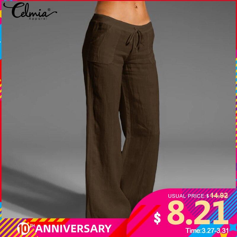 Women Vintage Linen Pants Long Palazzo 2020 Celmia Casual Loose Wide Leg Pants Elastic Waist Trousers Plus Size Pantalon Femme 7