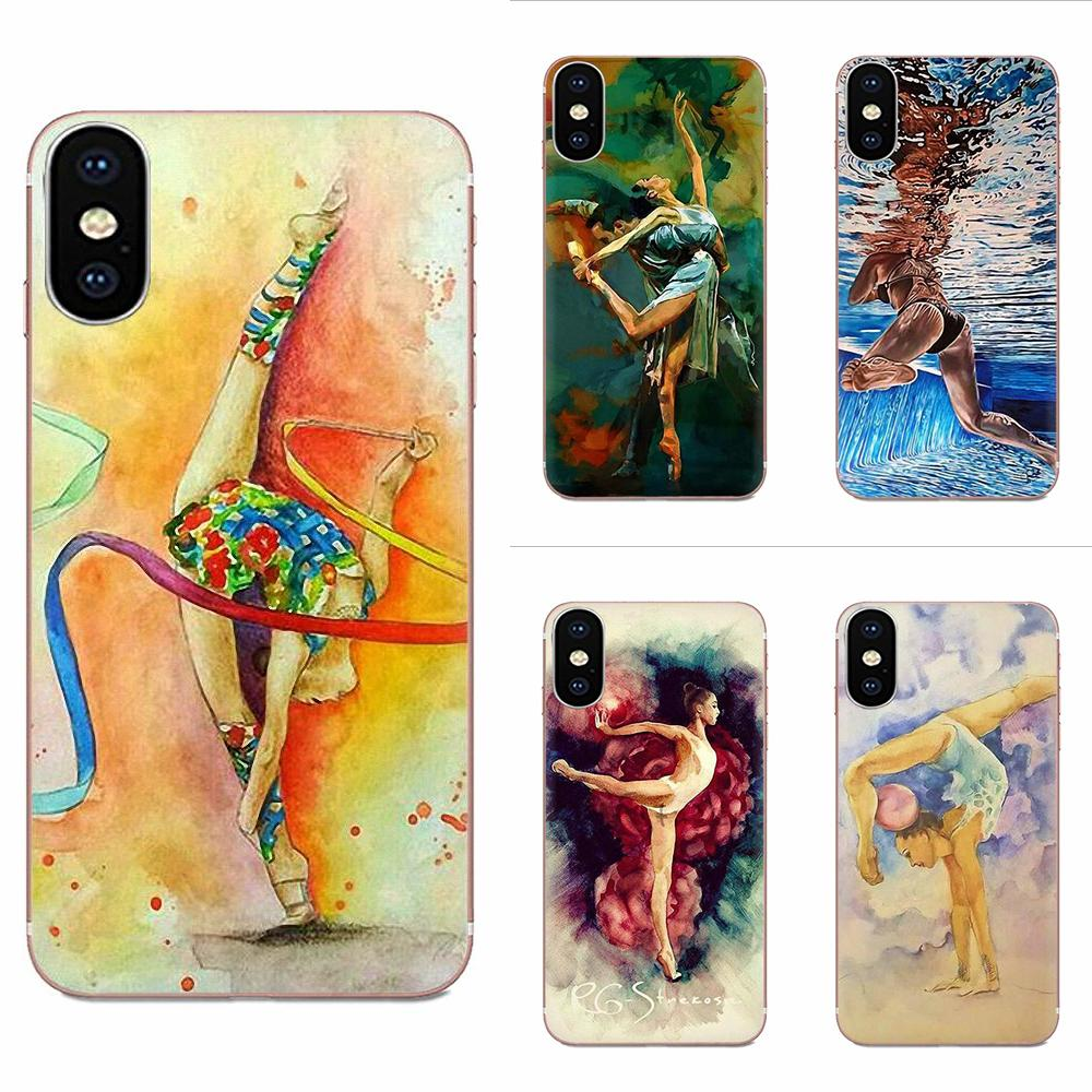 TPU Art Online Cover Case For Apple iPhone 4 4S 5 5C 5S SE 6 6S 7 8 11 Plus Pro X XS Max XR Love <font><b>Gymnastics</b></font> Oil Painting image