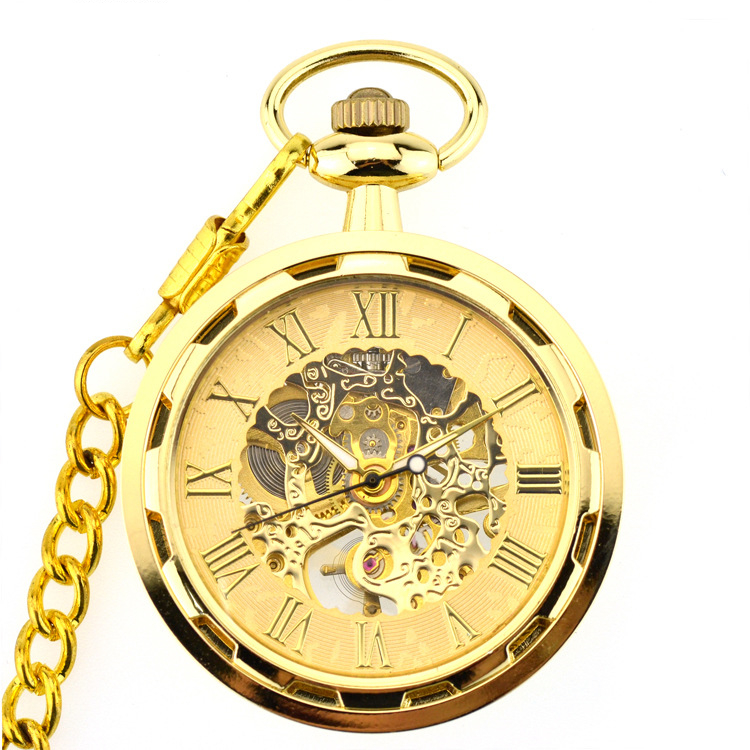 Fashion Gold Mechanical Pocket Watch Stainless Steel Luxury Skeleton Design Men Women Casual Pocket Watches With Chain