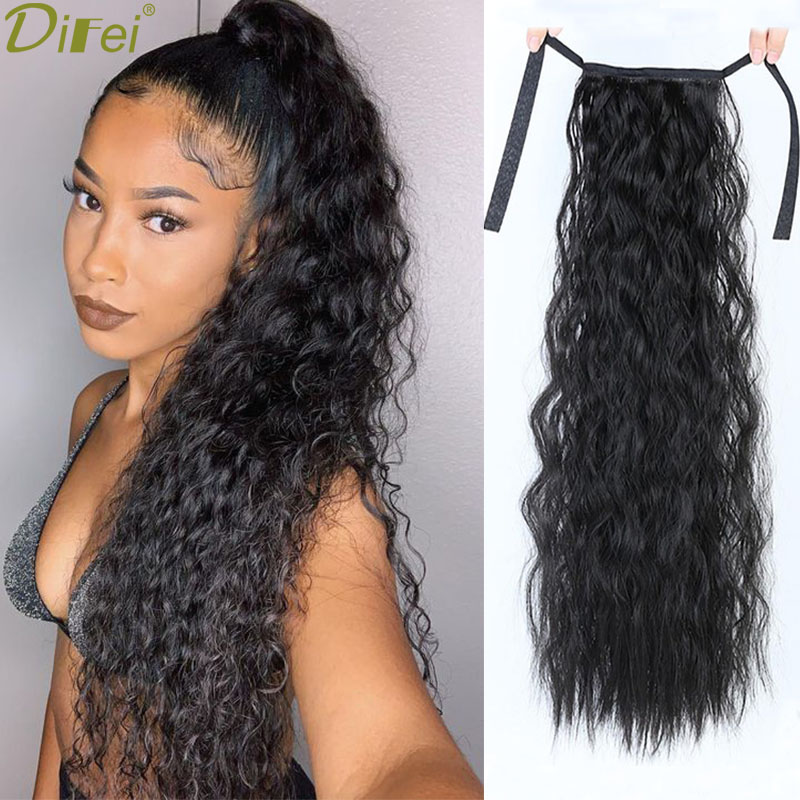 DIFEI 24 Inches Long Curly Ponytail 9 Colors Synthetic High Temperature Fiber Drawstring Hair Ponytail For  Black Women