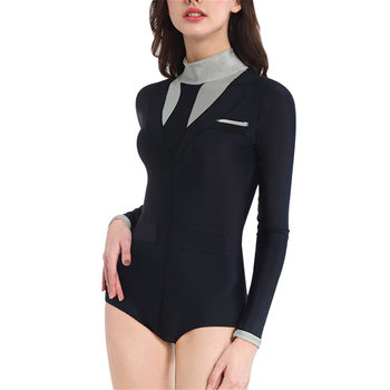 NEW Womens Outdoor Swimsuit Long Sleeve Bikini Wetsuit Bathing Suit for Surfing Swimming Swimwear
