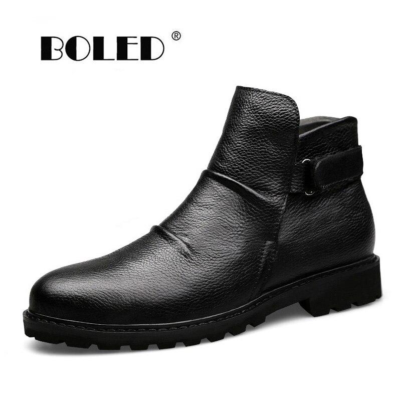 Super Warm Winter Boots Genuine Leather Men Shoes Handmade Fur Ankle Men Boots Waterproof Autumn Winter Outdoor Footwear