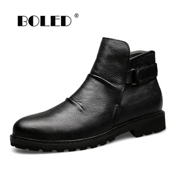 Super Warm Winter Boots Genuine Leather Men Shoes Handmade Fur Ankle Men Boots Waterproof Autumn Winter Outdoor Footwear