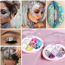 6 Kleur Oogschaduw Palet Shimmer Glitter Oogschaduw Gezicht Glitter Body Gel Shadow Festival Party Eye Make-Up Poeder Make TSLM1(China)