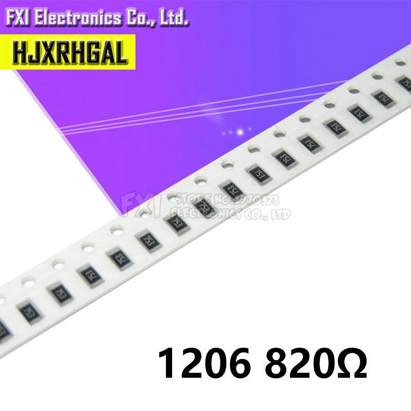 100PCS 1206 SMD Resistor  820 Ohm Chip Resistor 0.25W 1/4W 820R 821 New Original