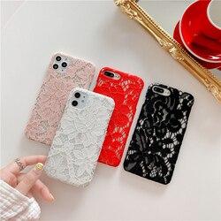Сексуальный цветочный кружевной полый чехол для телефона iphone 11 11 Pro Max SE 2020 XR XS Max 7 8 Plus X 11 Pro Розовый Мягкий тканевый чехол-накладка