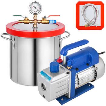 Komora próżniowa VEVOR 1 8-5 galonów + pompa próżniowa czynnika chłodniczego 1 8-4CFM jednostopniowe odgazowywanie silikonowa komora próżniowa Sealer Kit tanie i dobre opinie Pompa jednostopniowa Diesel Elektryczne CN (pochodzenie) wysokie ciśnienie 110V for the US 220V for the EU AU Single stage vacuum pump