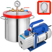 VEVOR Vacuum Chamber 1.8-5Gallon + Refrigerant Vacuum Pump 1.8-4CFM Single Stage Degassing Silicone Vacuum Chamber Sealer Kit