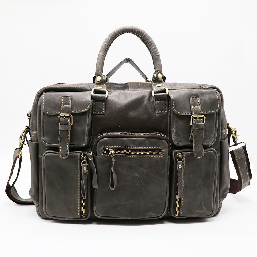 16 Genuine Leather Business Briefcase Men s Handbag Crossbody Shoulder Bag Messenger Bags Casual Travel Top