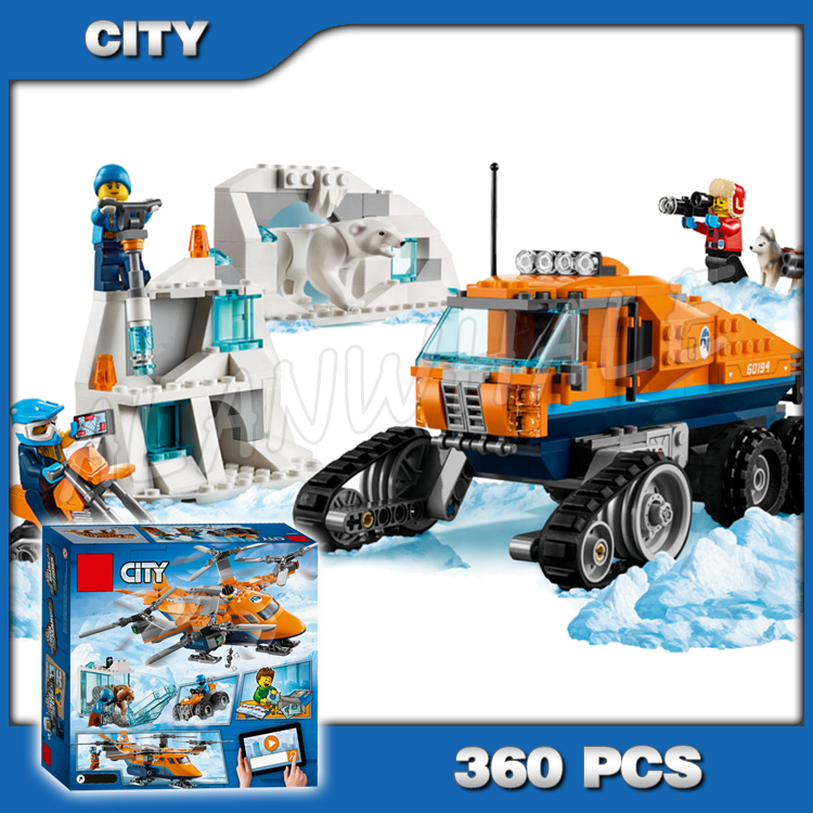 360pcs City Arctic Scout Truck Snow bike Ice Cave Wall Polar bear 10995 Figure Building Blocks Gifts Toys Compatible With Lago image