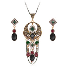 цена на 2019 vintage style of jewelry set, necklace and earrings, the new alloy earrings necklace two-piece outfit