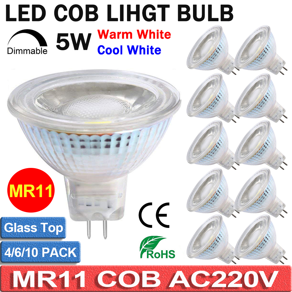 Dimmable AC220V LED MR11 Spotlight Light Bulbs 5W Full Glass Cover Reflector Warm Cool White Bulb Lampada 12V COB Led Lamp D40